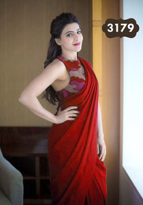 Red Colour Plain Satin Silk Saree With Designer Blouse
