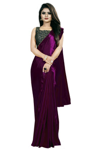 Wine Colour Women's Satin Silk Saree With Boluse Piece