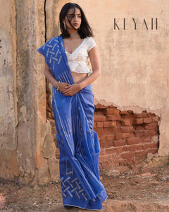 Blue Colour Zarna Silk Saree With Blouse Piece