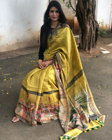 Yellow Colour Zarna Silk Saree With Blouse Piece