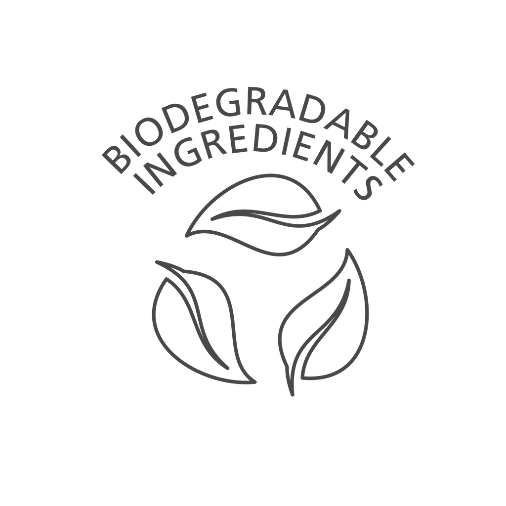 Biodegradable ingredients, with three leaves. Good for the environment