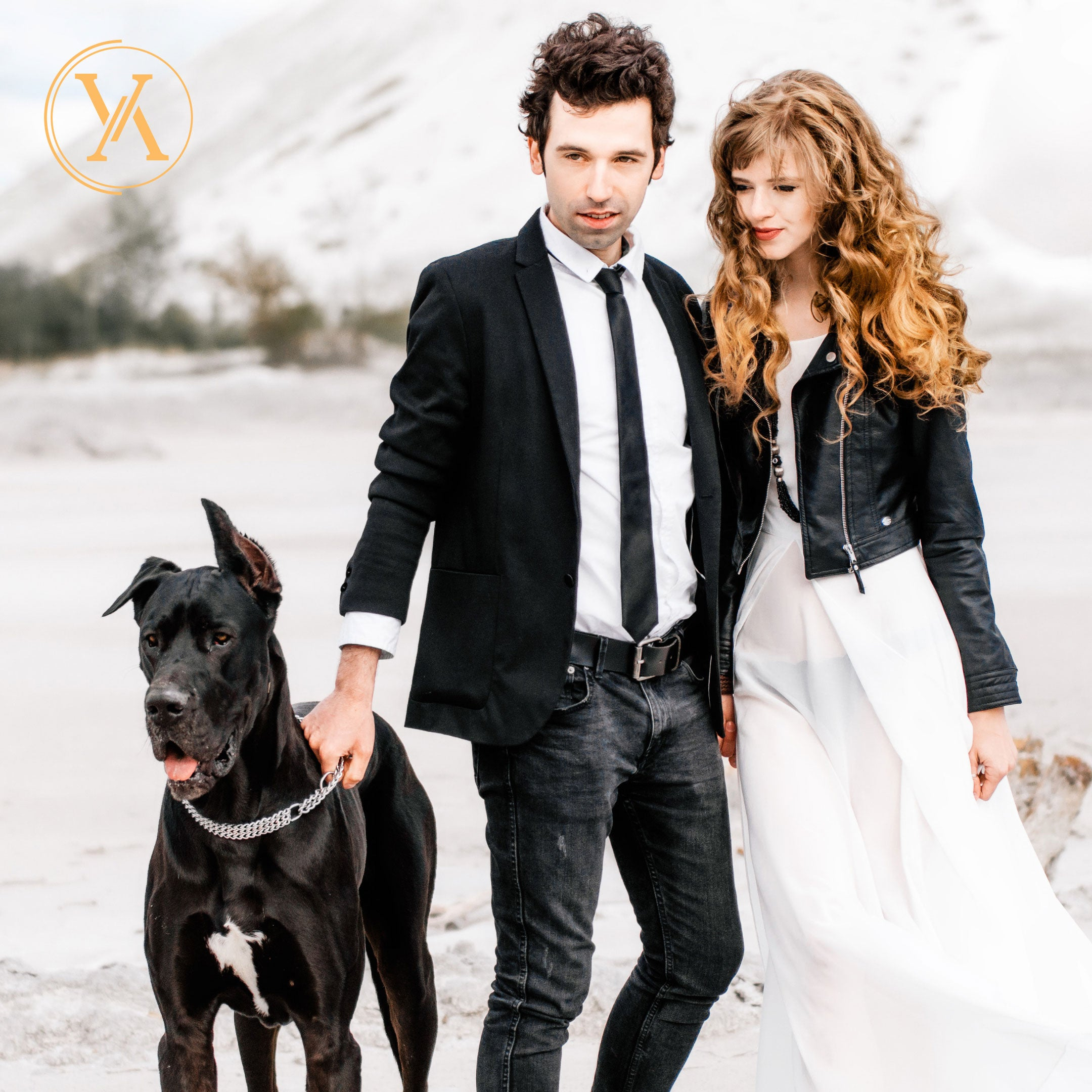 Business man and career woman walking a large black dog outside