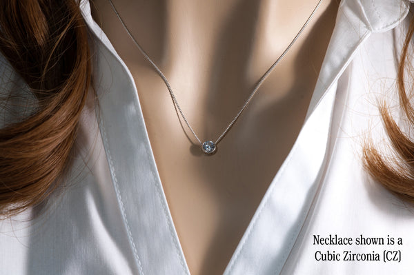 Silver Cubic Zirconia Slider Necklace