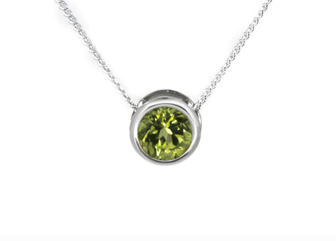 Peridot Jewellery - Sterling Silver Slider Necklace