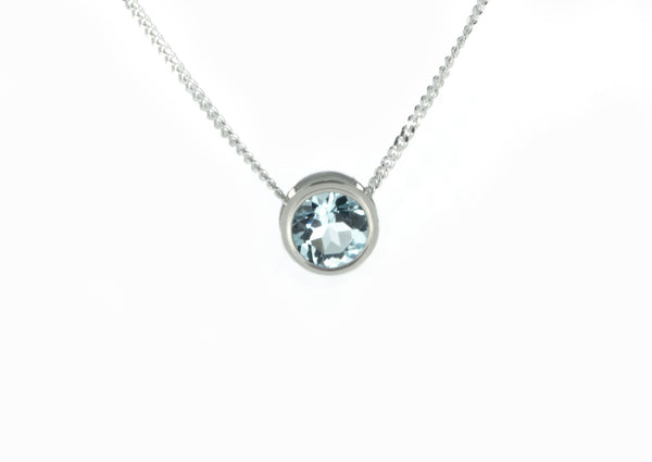 Silver Sky Blue Topaz Slider Necklace