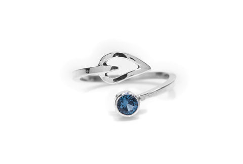 Blue Topaz Thumb Ring, Adjustable Ring