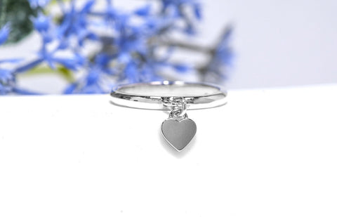 Silver Heart Charm Ring