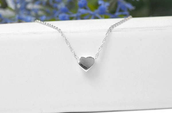 Silver Heart Choker Necklace