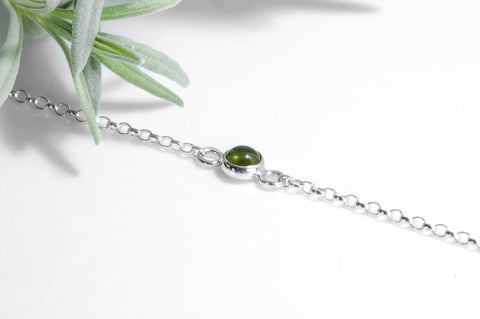 Peridot Bracelet | 925 Sterling Silver with Real Peridot Cabochon Gemstone