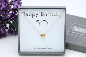 50th Birthday Gift, Sterling Silver Necklace