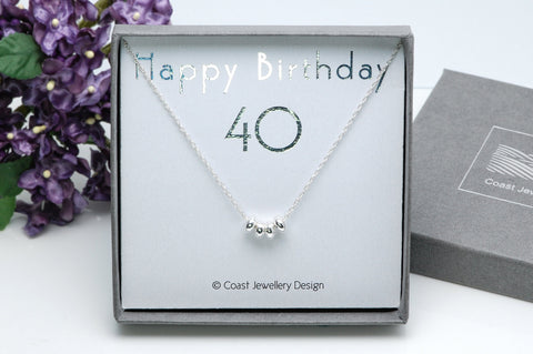 40th Birthday Gift, Sterling Silver Necklace