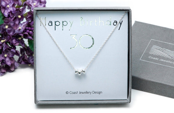 30th Birthday Gift, Sterling Silver Necklace