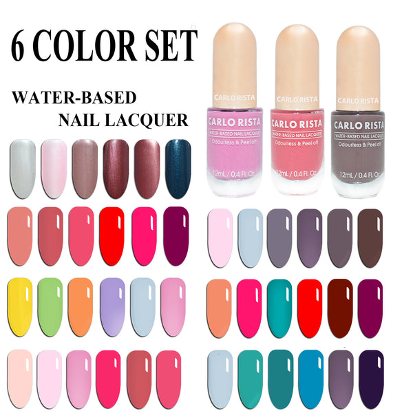 Water-Based Nail Polish 6 Color Set - CARLO RISTA