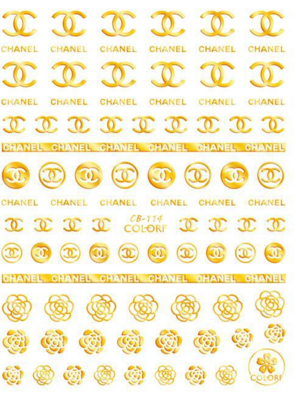 Nail Art Stickers - CB114 Golden