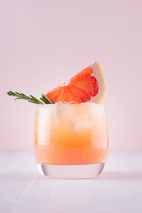 Tea Cocktail Recipe - Bitter Lemonade Smash with Grapefruit and Rosemary