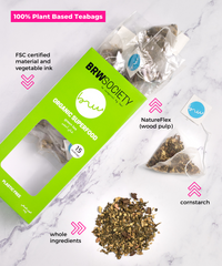 BRW Society plastic free teabags, whole ingredients