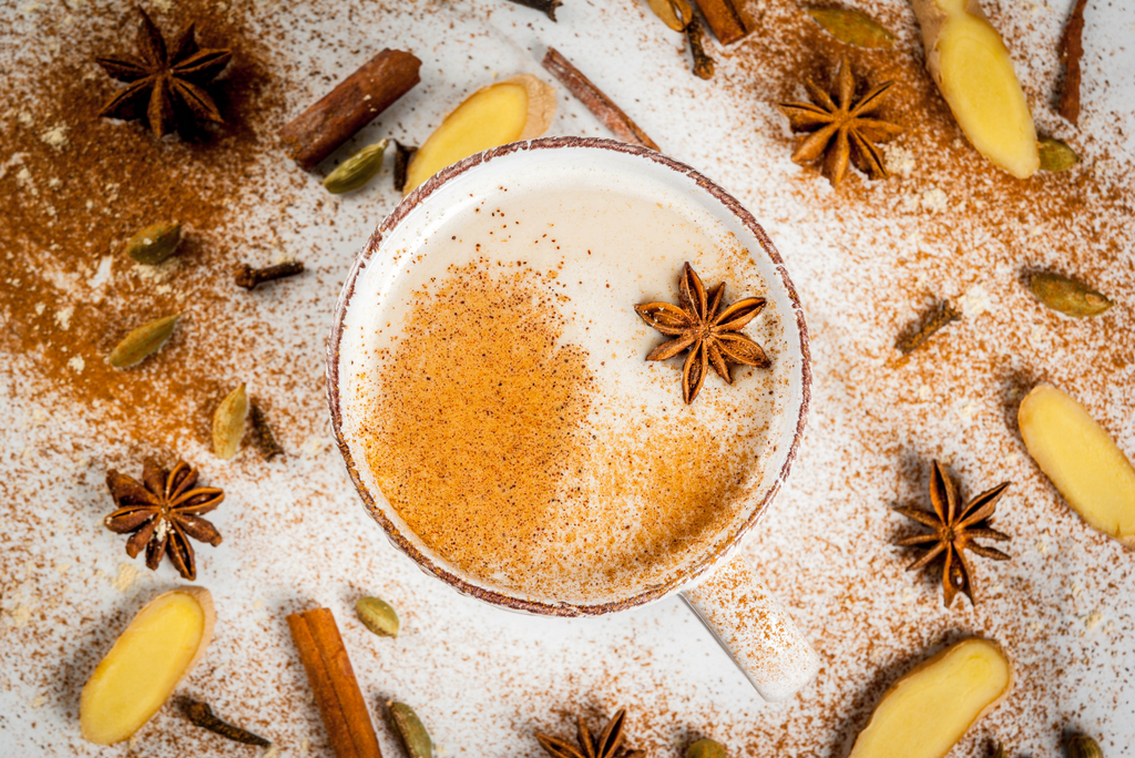 Chai tea with ingredients