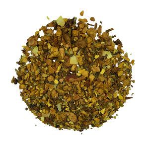 Organic superroot loose leaf tea blend containing apple, lemon peel and turmeric