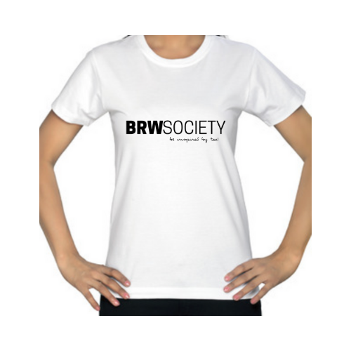 BRW Society, unisex, cotton white T-shirt with font logo in black.