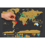 Scratch Off World Map Poster - Travel Map with US States and Country Flags, Tracks Your Adventures