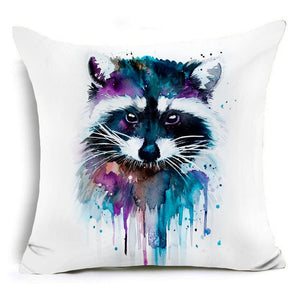 Polyester Cushion Cover Raccoon Watercolor Pillow case - Raccoon Pillow case