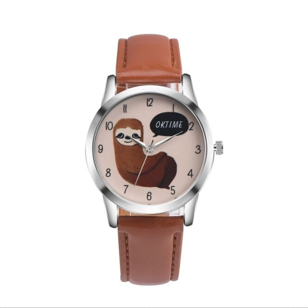 Sloth Accessories Watch sloth Watch with Custom Leather Band for Women Brown watch