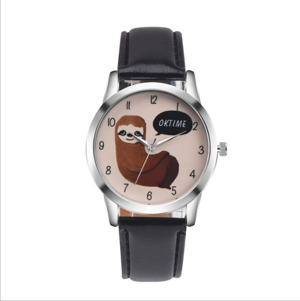 Sloth Accessories Watch sloth Watch with Custom Leather Band for Women black watch