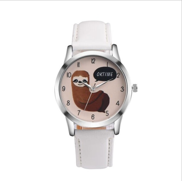 Sloth Accessories Watch sloth Watch with Custom Leather Band for Women white watch