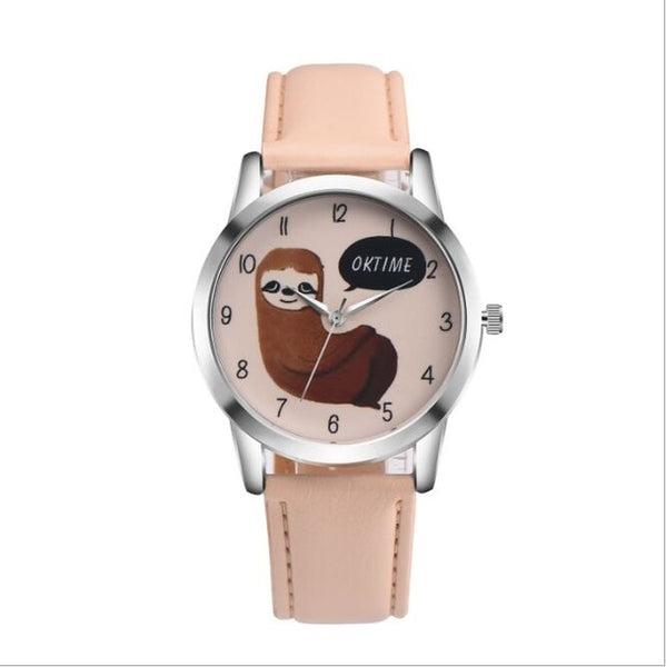 Sloth Accessories Watch sloth Watch with Custom Leather Band for Women cream watch