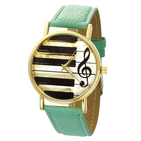 Piano Watch Music with Custom Band Colors for Women green watch