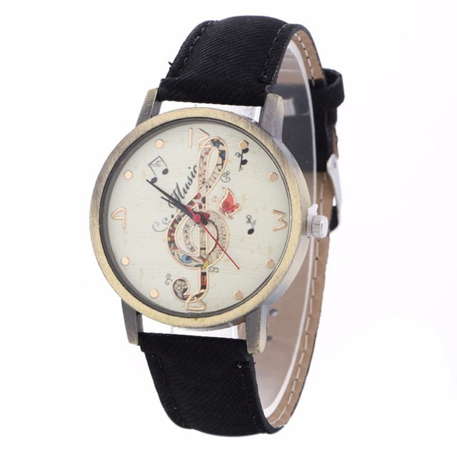 Music Watch Clef Note with Custom Band for Women Black