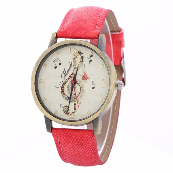 Music Watch Clef Note with Custom Band for Women Red