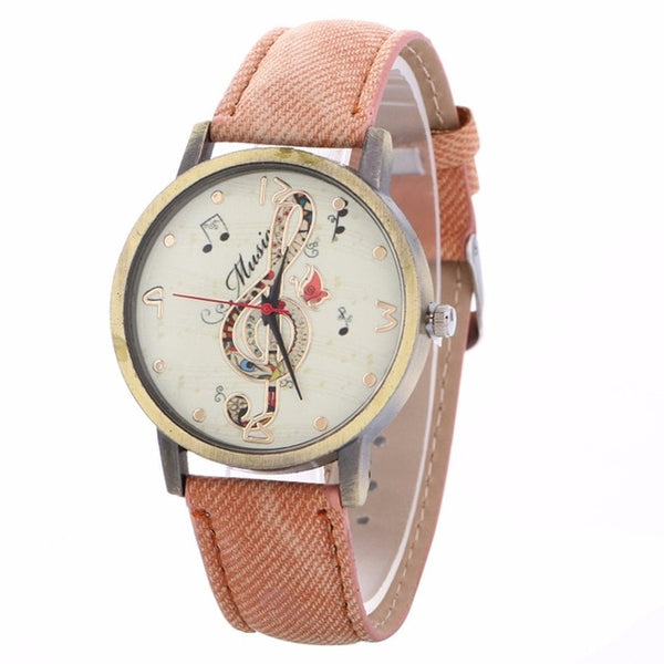 Music Watch Clef Note with Custom Band for Women Pink