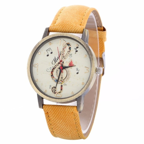 Music Watch Clef Note with Custom Band for Women Yellow