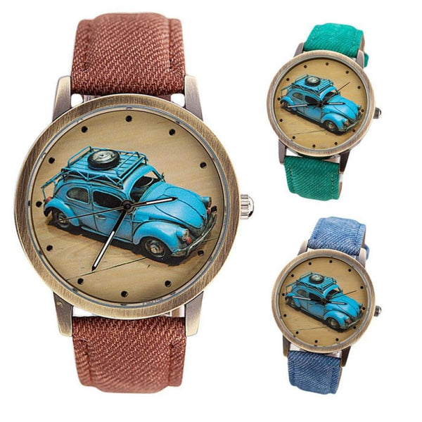 VW Bug / VW Beetle Retro Watch with Custom Color Band for Women