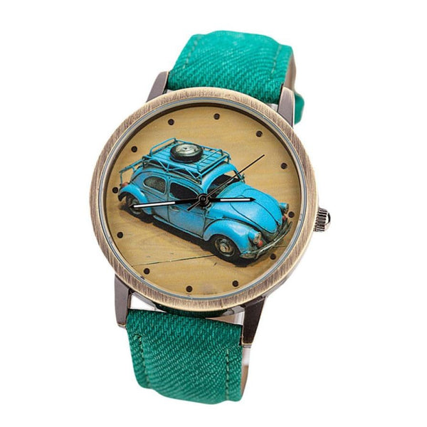 VW Bug / VW Beetle Retro Watch with Custom Color Band for Women Green