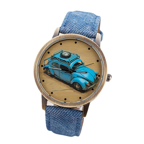 VW Bug / VW Beetle Retro Watch with Custom Color Band for Women Blue