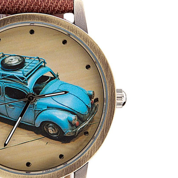 VW Bug / VW Beetle Retro Watch with Custom Color Band for Women Brown