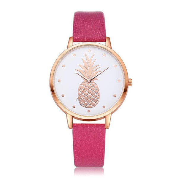 Pineapple Watch with Custom Leather Band Color for Women Rose