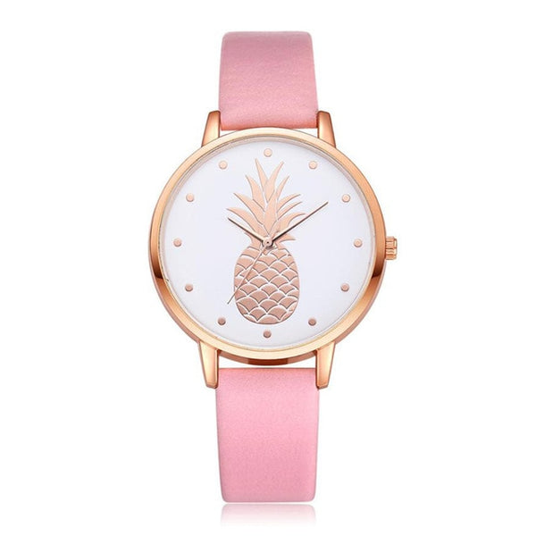 Pineapple Watch with Custom Leather Band Color for Women Pink
