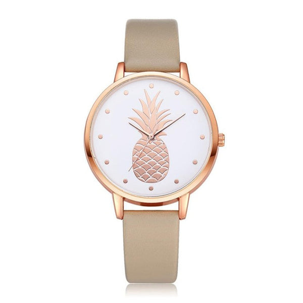 Pineapple Watch with Custom Leather Band Color for Women Gold