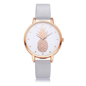 Pineapple Watch with Custom Leather Band Color for Women Silver