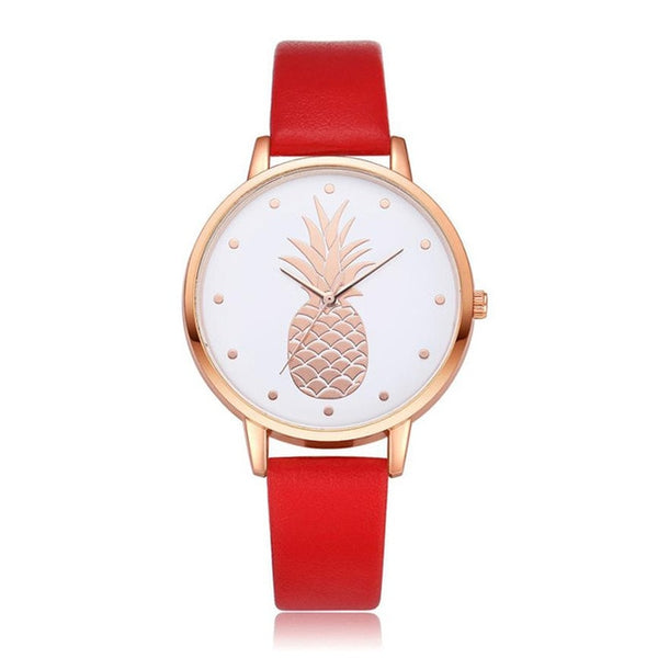 Pineapple Watch with Custom Leather Band Color for Women Red