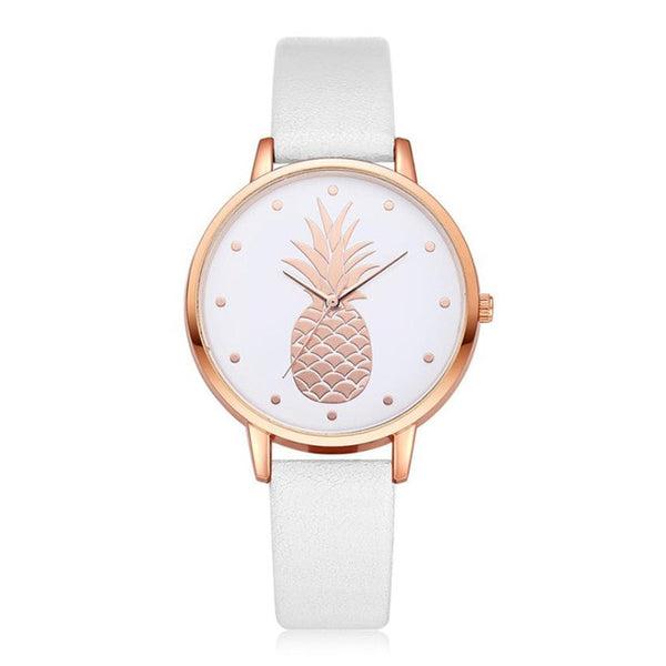 Pineapple Watch with Custom Leather Band Color for Women White