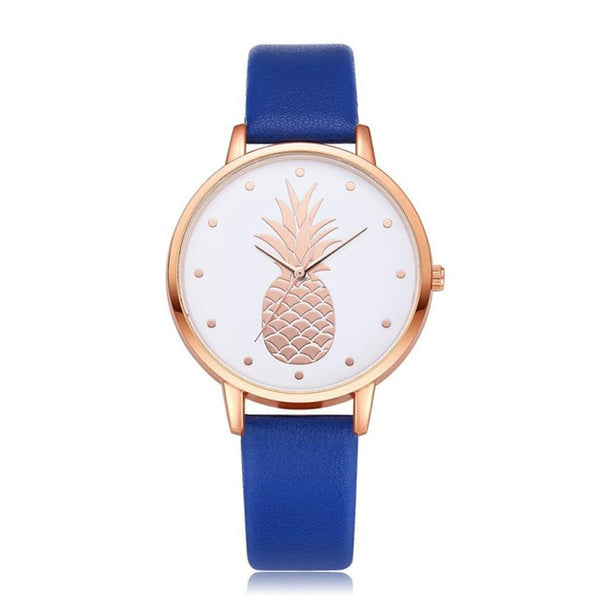 Pineapple Watch with Custom Leather Band Color for Women Blue
