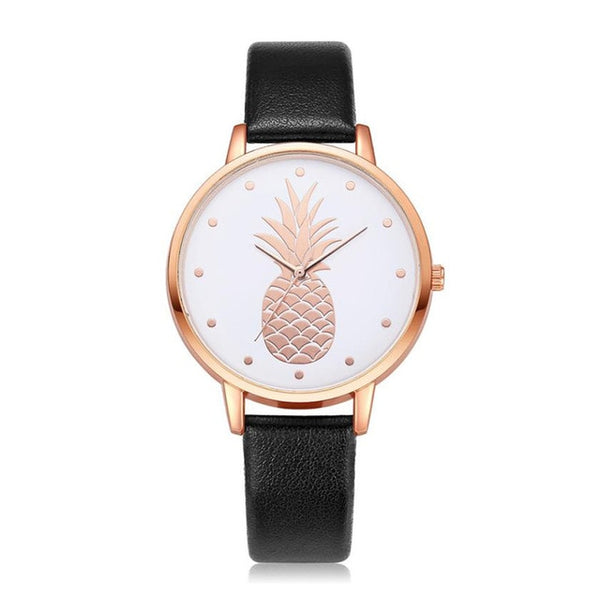 Pineapple Watch with Custom Leather Band Color for Women Black