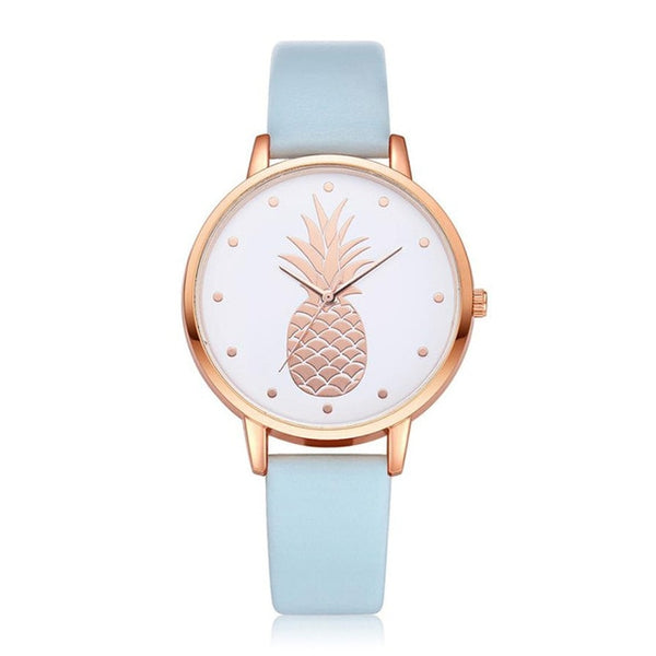 Pineapple Watch with Custom Leather Band Color for Women Light Blue