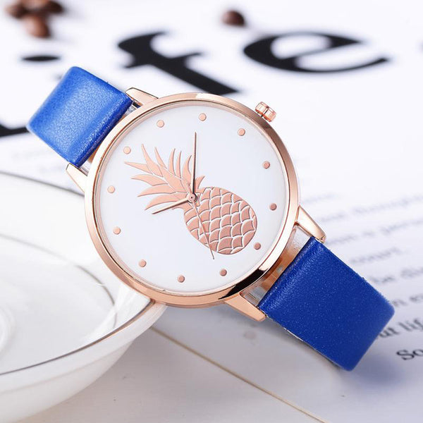 Pineapple Watch with Custom Leather Band Color for Women