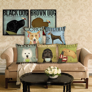 Dog Cushion Cover -  Linen  Pillowcase - Decorative Dog Throw Pillow Cover  - 45x45 cm