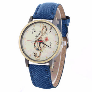 Music Watch Clef Note with Custom Band for Women Blue